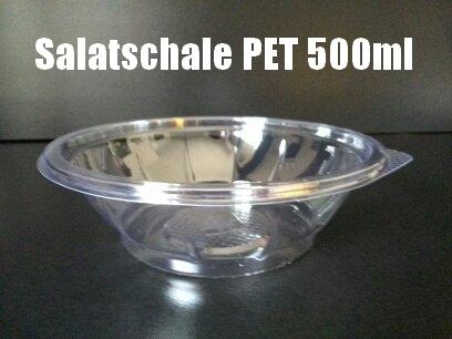 600 Salatschalen PET 500ml rund klar mit Lasche