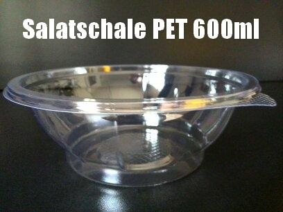 600 Salatschalen PET 600ml rund klar mit Lasche