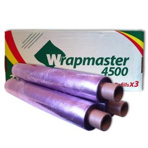 3 Rollen PVC-Frischhaltefolie 45cm x 300m für Wrapmaster 4500